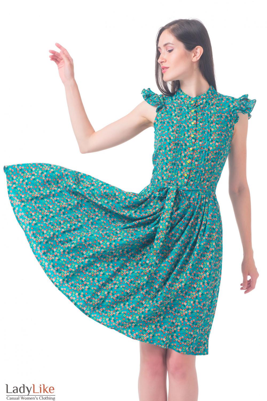 Купить бирюзовое платье в цветочек Деловая женская одежда