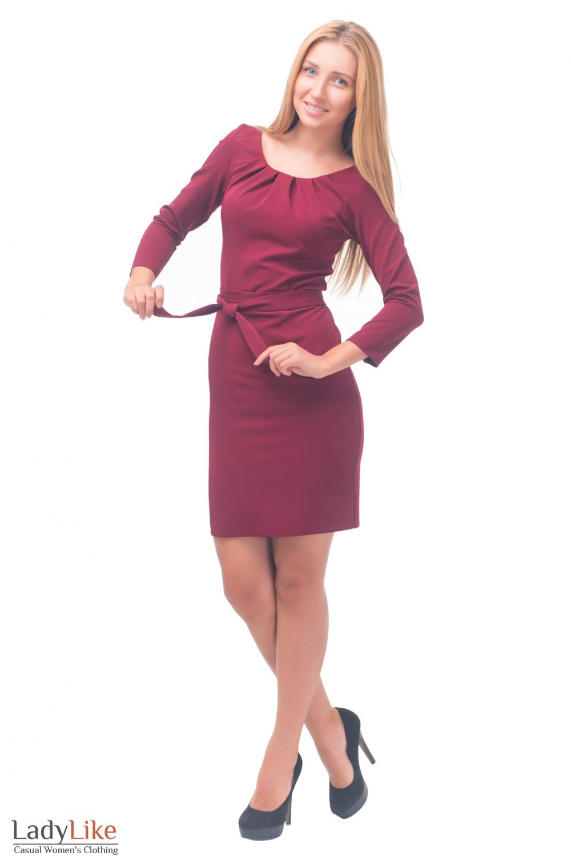 Купить бордовое платье с защипами Деловая женская одежда