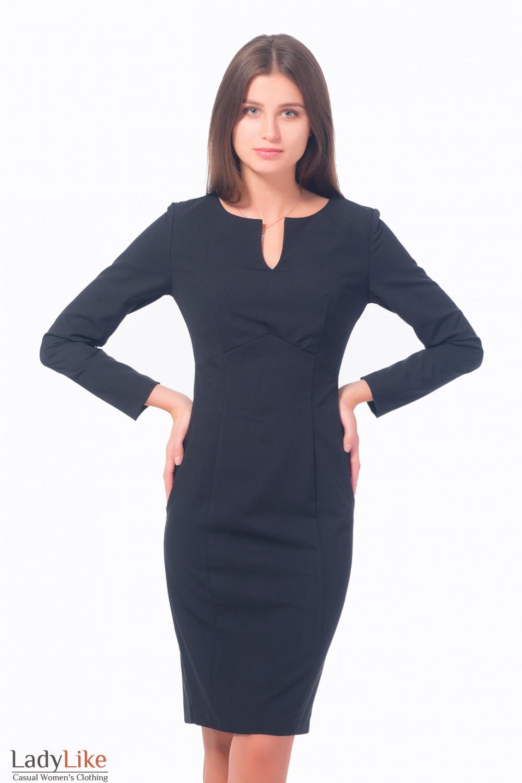Платье черное с разрезом на груди Деловая женская одежда