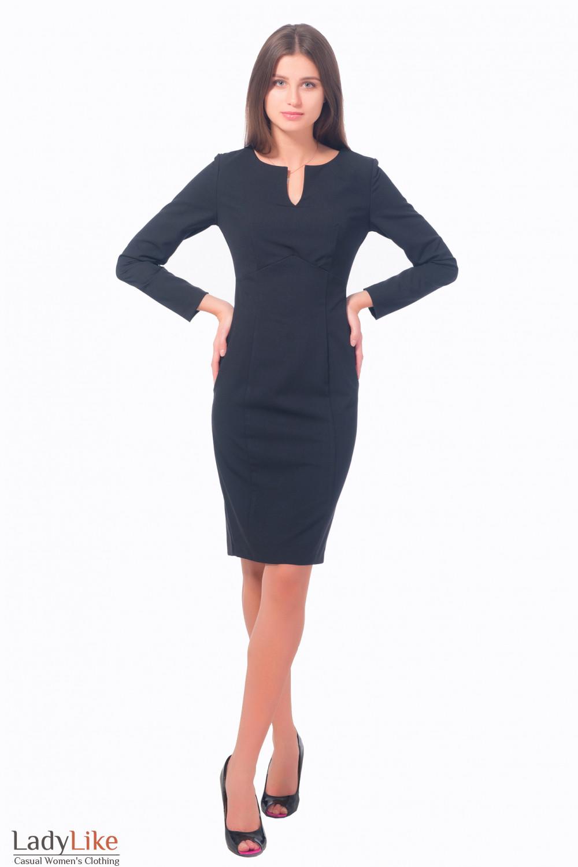 Купить платье черное с разрезом на груди Деловая женская одежда