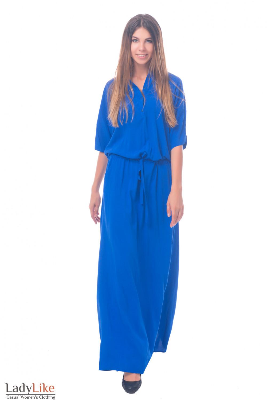 Фото Платье длинное синее с рукавом Деловая женская одежда