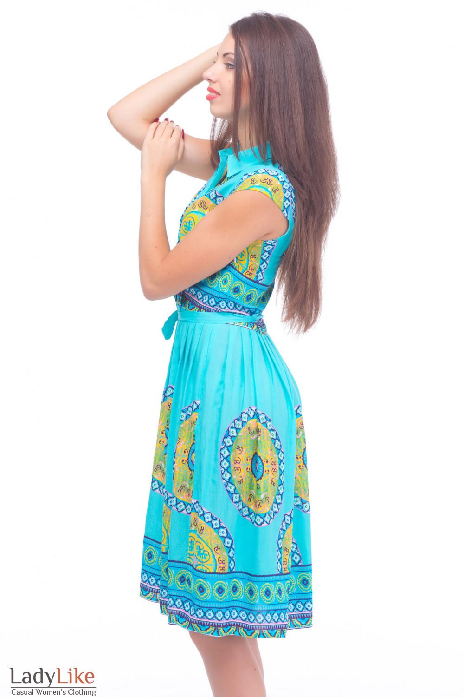 Купить голубое платье с защипами Деловая женская одежда