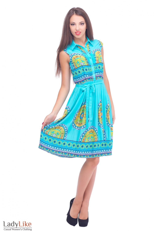 Купить штапельное голубое платье Деловая женская одежда