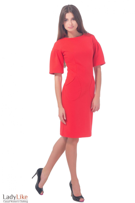 Платье из кораллового трикотажа с рукавом-фонариком Деловая женская одежда