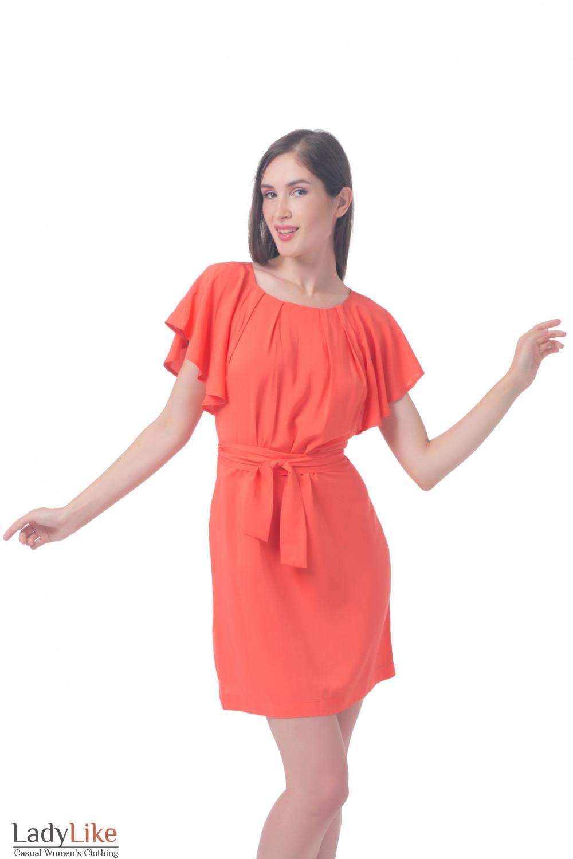 Платье коралловое с крылышками Деловая женская одежда
