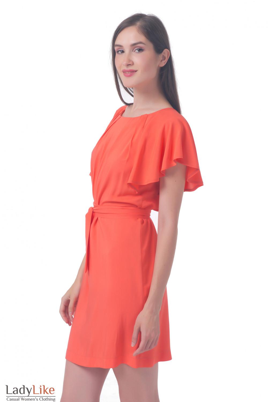 Купить платье коралловое с крылышками Деловая женская одежда