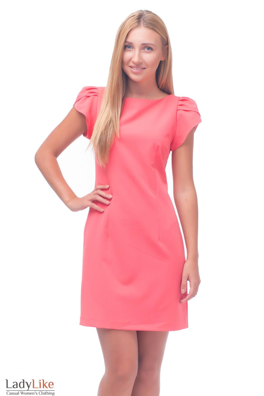 Платье коралловое с рукавчиком Деловая женская одежда