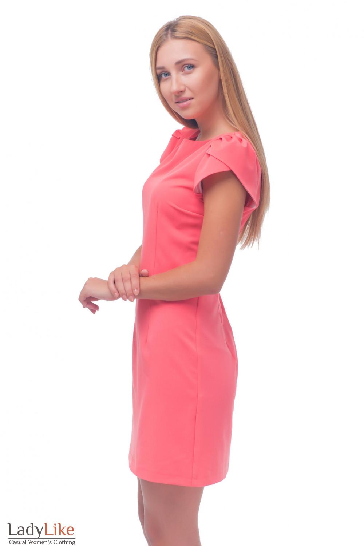 Купить платье коралловое с рукавчиком Деловая женская одежда
