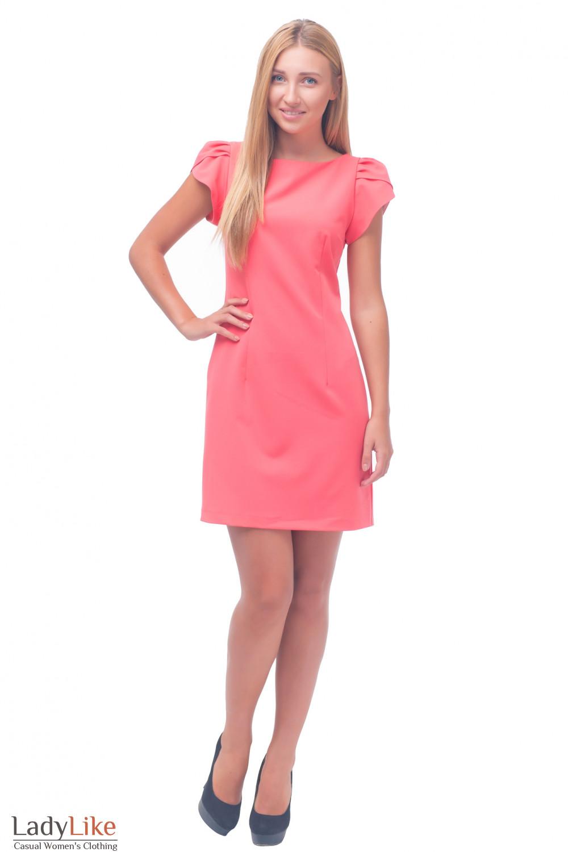 Купить платье коралловое с коротким рукавчиком Деловая женская одежда
