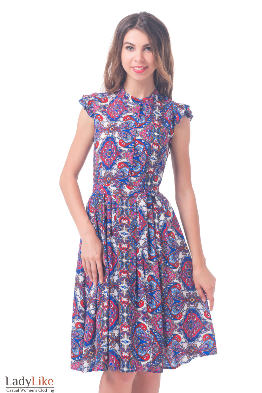 Платье красно-синее со складочками Деловая женская одежда