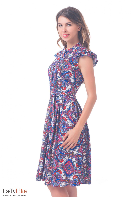 Купить платье красно-синее со складочками Деловая женская одежда