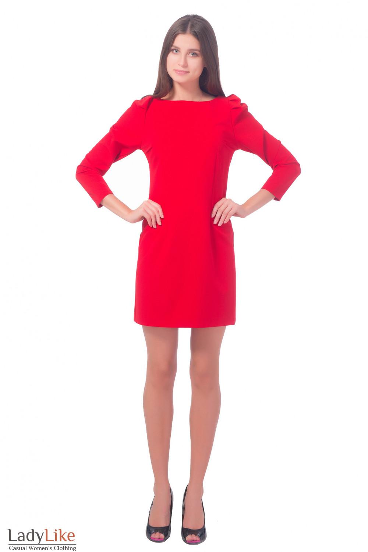 Купить платье красное с длинным рукавом-фонариком Деловая женская одежда