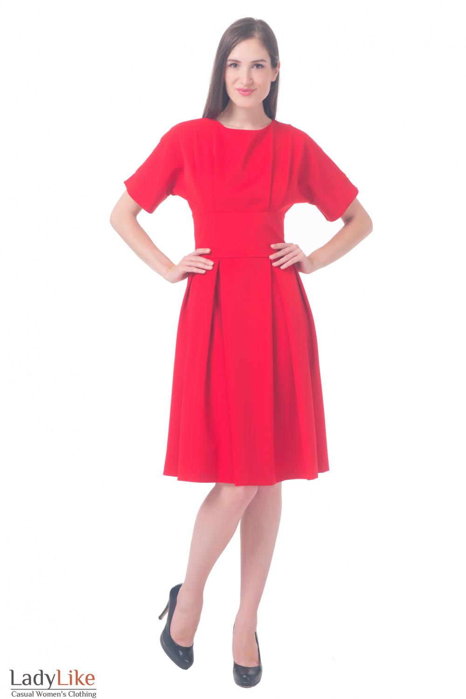 Купить красное платье с пышной юбкой Деловая женская одежда