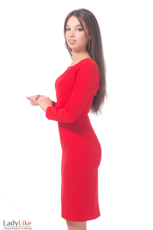 Купить платье красное с разрезом на груди Деловая женская одежда