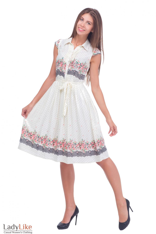 Купить молочное платье с пышной юбкой Деловая женская одежда