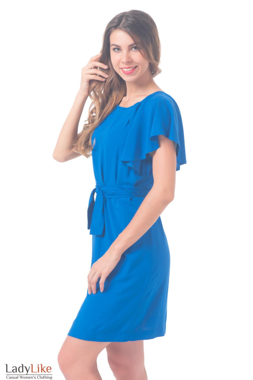Купить Платье однотонное синее с крылышками Деловая женская одежда