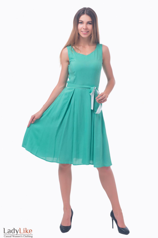 Фото Платье пышное салатовое Деловая женская одежда