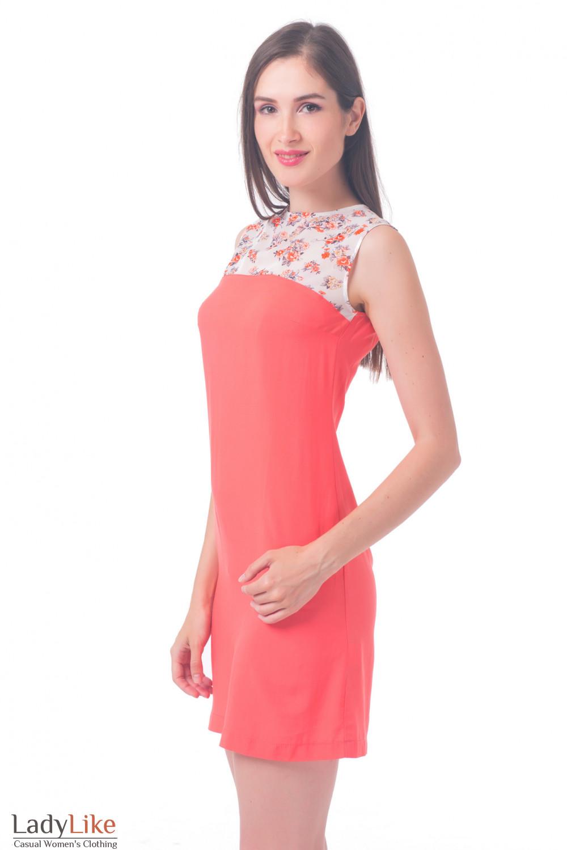 Купить платье с шифоновым верхом с цветочками Деловая женская одежда