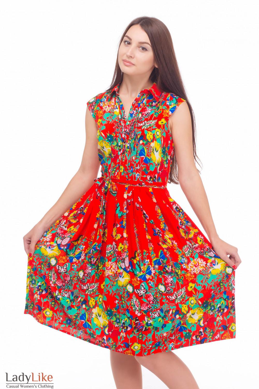 Платье с защипами в бабочки Деловая женская одежда
