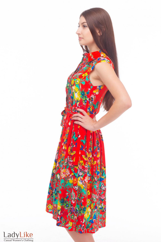 Яркое платье с защипами Деловая женская одежда