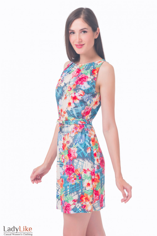 Купить платье с защипами в розы Деловая женская одежда