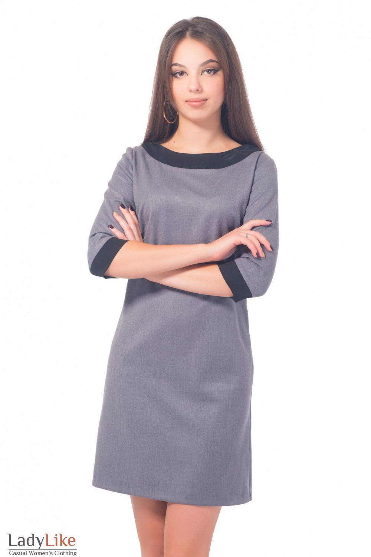 Платье серое теплое с черным воротником Деловая женская одежда