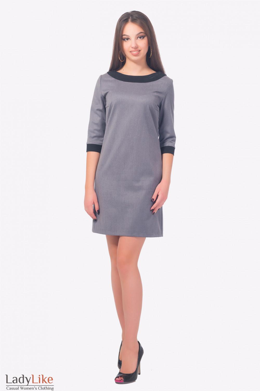 Купить теплое платье серое с черным воротником  Деловая женская одежда