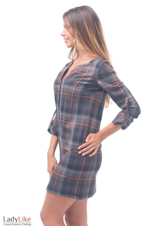 Купить платье серое в рыжую клетку Деловая женская одежда