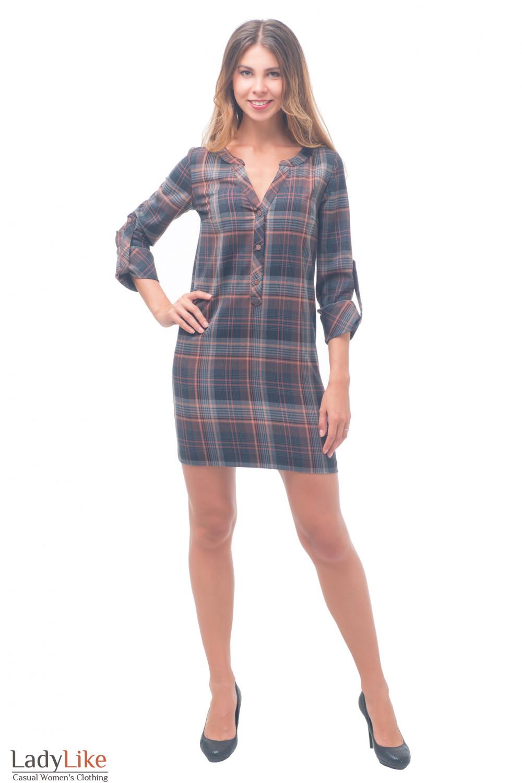 Купить платье теплое серое в рыжую клетку Деловая женская одежда