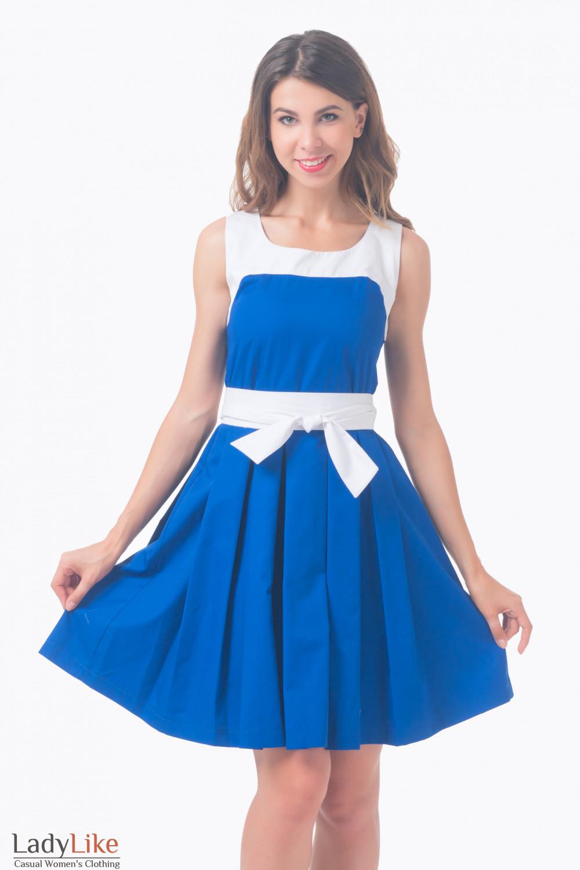 Купить Платье синее с пышной юбкой и белым поясом Деловая женская одежда