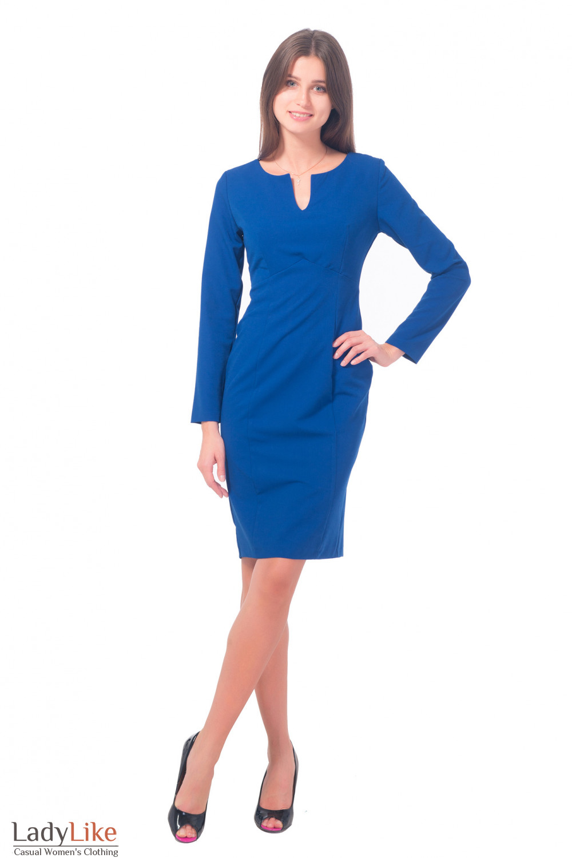 Купить яркое платье синее с разрезом на груди Деловая женская одежда