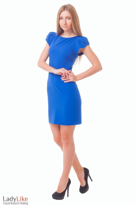 Купить платье синее с рукавчиком Деловая женская одежда
