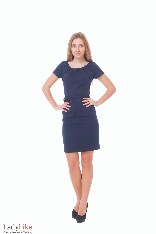 Купить синее платье с поясом Деловая женская одежда