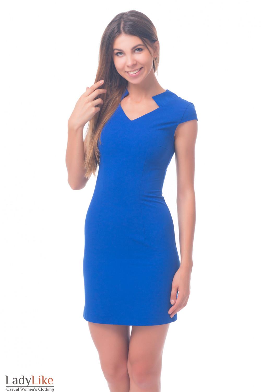 Фото Платье синее со стойкой Деловая женская одежда