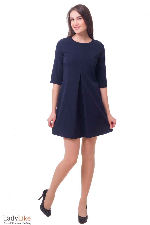 Купить платье темно-синее со встречной складкой Деловая женская одежда