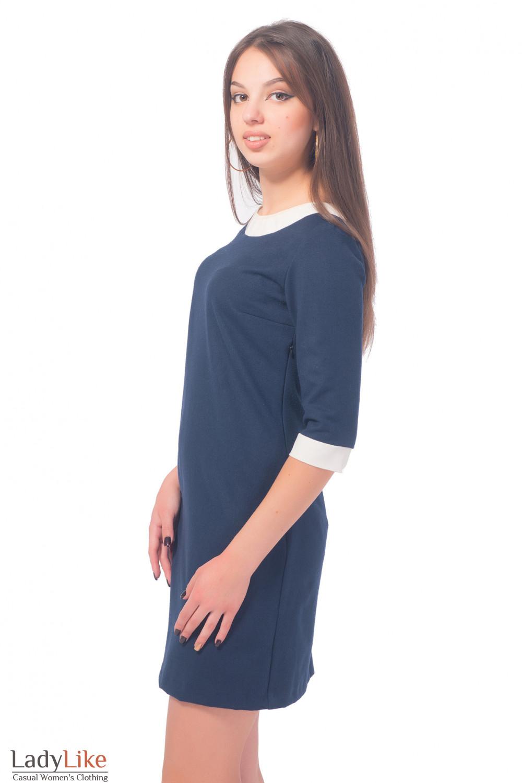 Купить платье синее теплое с белым воротником Деловая женская одежда