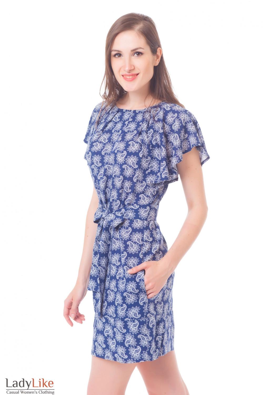 Купить платье синее в белые огурцы Деловая женская одежда