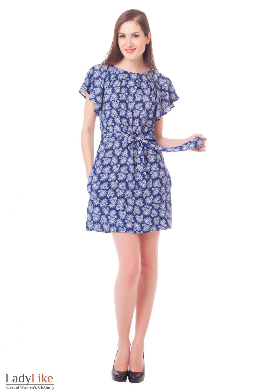 Купить платье синее в огурцы Деловая женская одежда