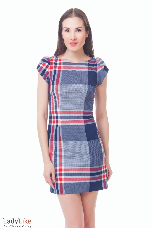 Платье синее в красную клетку Деловая женская одежда
