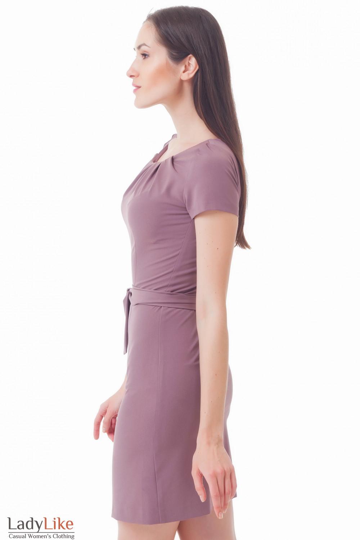 Купить сиреневое платье с защипами Деловая женская одежда