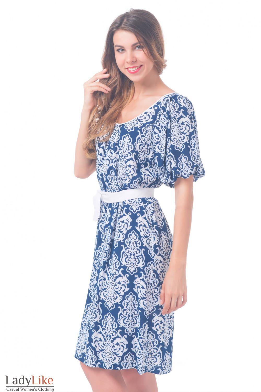 Купить платье темно-синее с белым поясом Деловая женская одежда