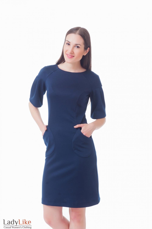 Платье темно-синее с карманами Деловая женская одежда