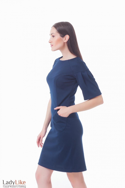 Купить платье темно-синее с карманами Деловая женская одежда