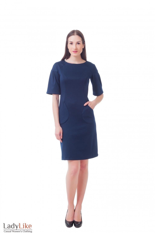 Купить синее платье с рукавом 3/4 Деловая женская одежда