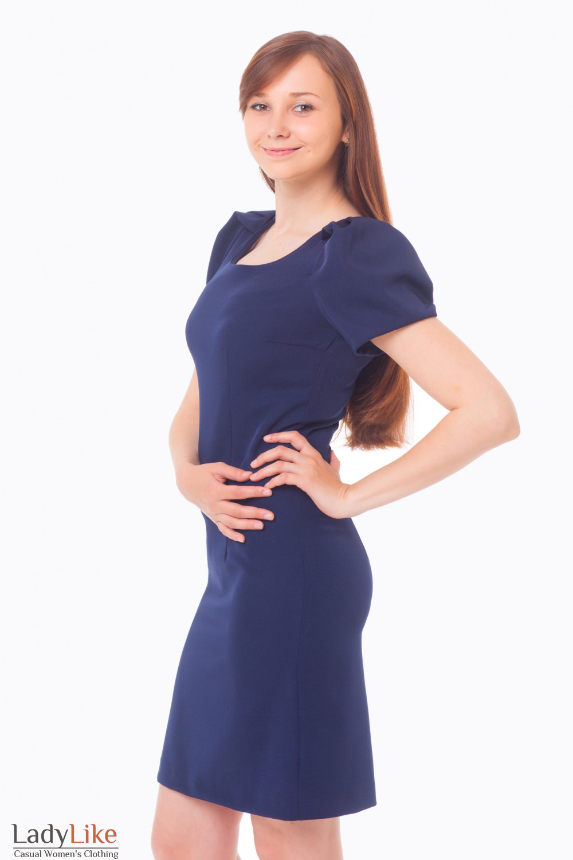 Платье темно-синее с рукавом-фонариком Деловая женская одежда