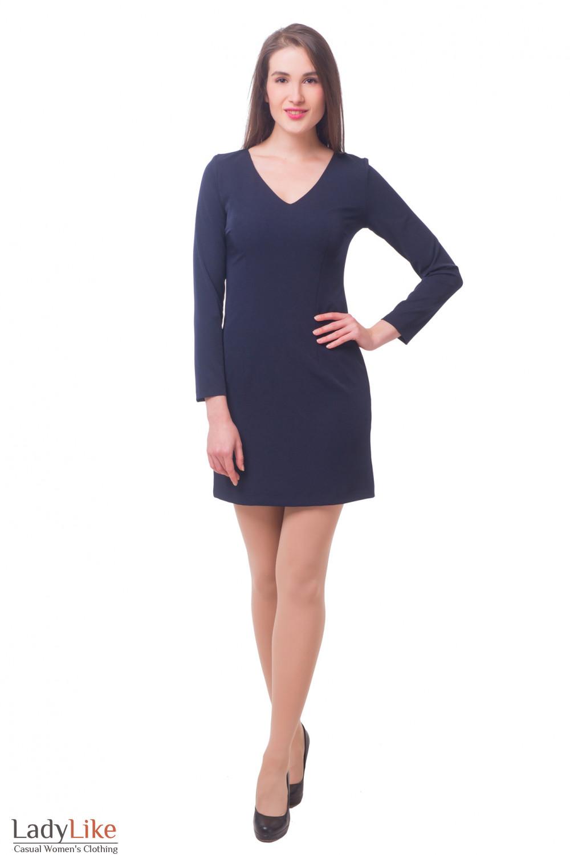 Купить темно-синее платье на подкладке Деловая женская одежда