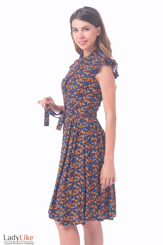 Купить платье темно-синее в цветочек Деловая женская одежда