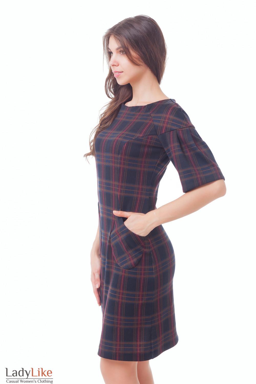 Купить трикотажное платье с рукавом 3/4 Деловая женская одежда