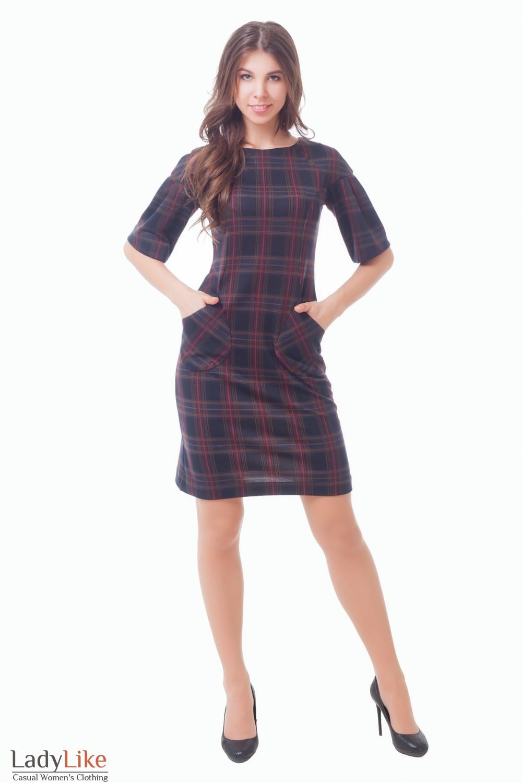 Купить Платье темно-синее в клетку с карманами Деловая женская одежда
