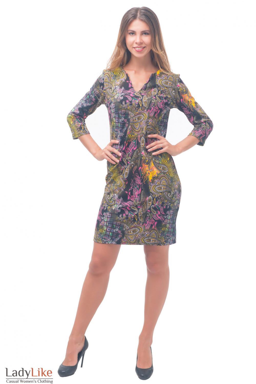 Купить пестрое трикотажное платье Деловая женская одежда